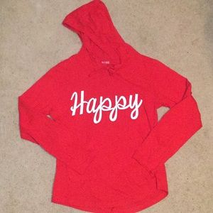Hooded 'Happy' Lon Sleeve Tee